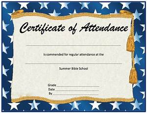 Perfect Attendance Certificate Template Perfect Attendance Certificate Template Professional And High Quality Templates