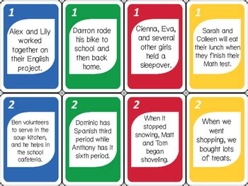 simple compound complex sentence switch ela card game
