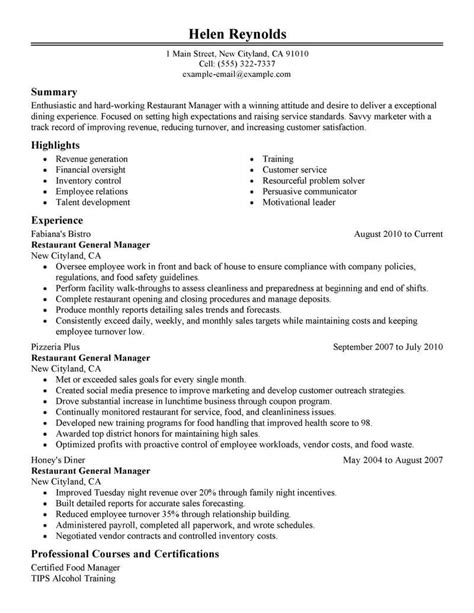 Kitchen Manager Skills Resume by Best Restaurant Manager Resume Exle Livecareer