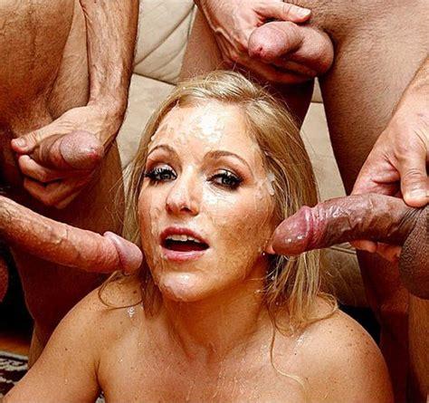 blonde takes 5 loads on the face a facial blonde bukkake messy cumshot blow bang dripping cum
