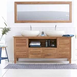 Meuble Tiroir Salle De Bain : meuble salle de bain en teck et en bois moderne ~ Teatrodelosmanantiales.com Idées de Décoration
