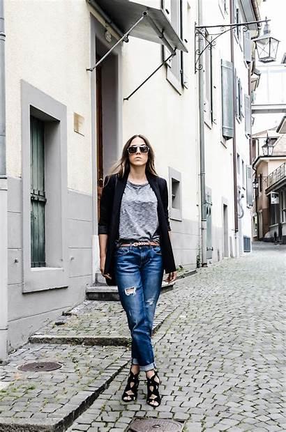 Boyfriend Jeans Wear Outfits Ripped Heels Grey