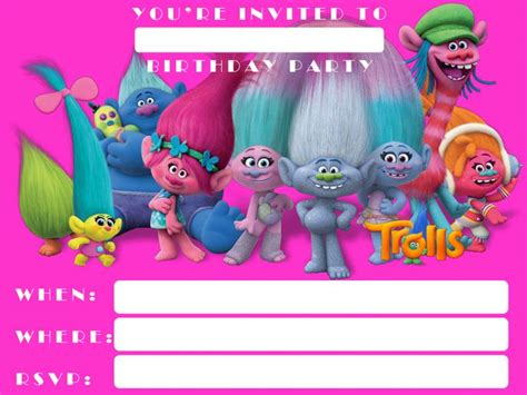 Trolls Invitation Templates Free by Free Printable Trolls Invitation Template Dolanpedia