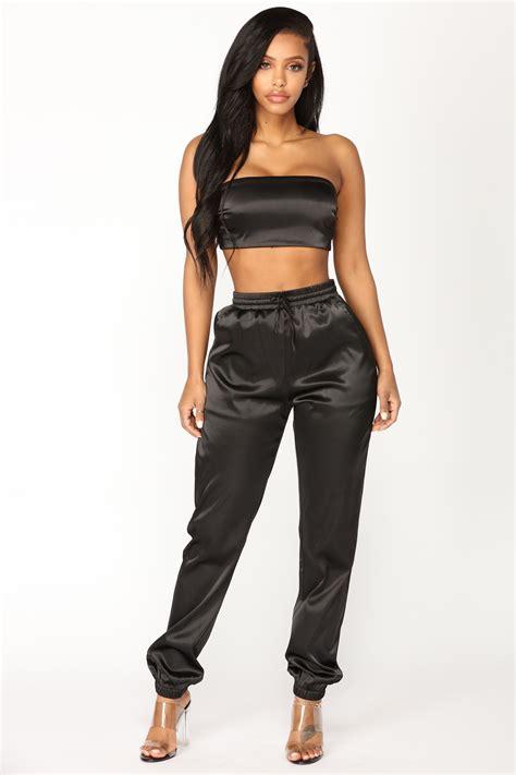 my satin pant set black