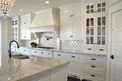 colonial white granite kitchen farmhouse  dark island