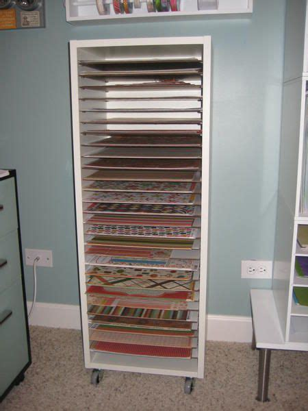 shelving paper kitchen cabinets scrapbook paper storage org poster said she built it 5187