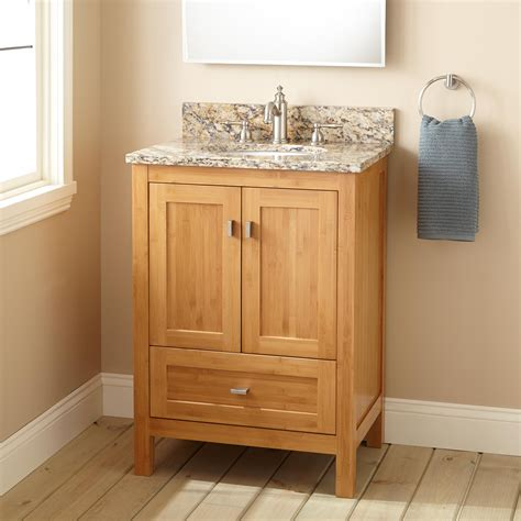 narrow depth alcott bamboo vanity  undermount sink