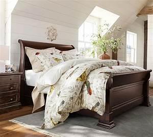 meadowlark print organic duvet cover sham pottery barn With banks bed pottery barn