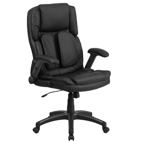 Office Chairs With Lumbar Support by High Back Black Leather Executive Swivel Office Chair With