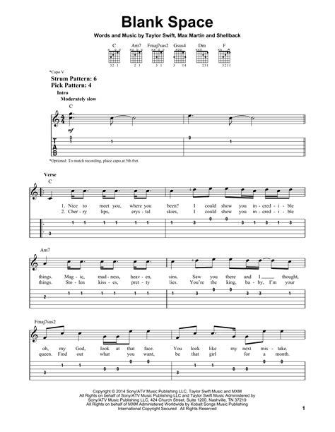 blank space sheet by easy guitar tab