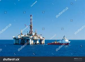 Supply Vessel During Operation Along Side With A Drilling ...