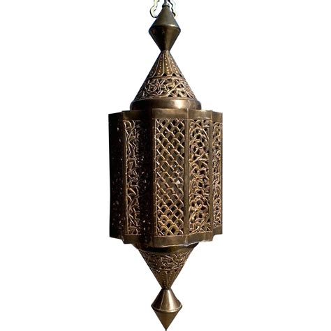 solid brass moroccan style hanging pendant lantern or