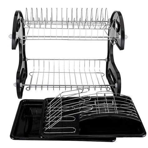 layer dish drainer drying rack utensil storage holder  kitchen counter top ebay