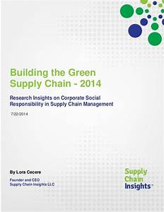 Building the Green Supply Chain - 2014