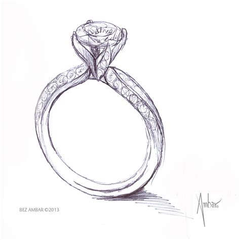 drawing for custom engagement ring