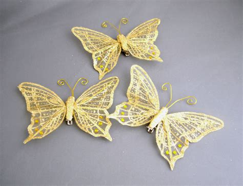 gold butterfly glittery decorations 12cm pkg of 3