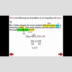 #29a Word Problems With Twostep Inequalities Youtube
