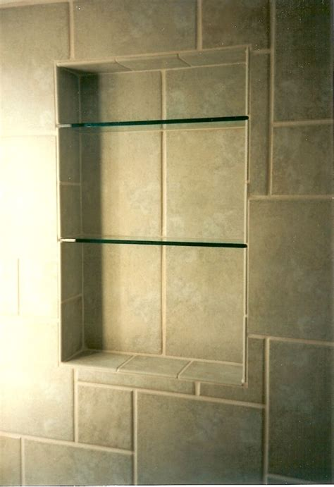 shower tile and shelving bathroom ideas