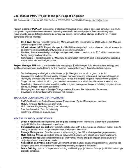 Professional Summary For Project Manager by 8 Sle Project Manager Resumes Pdf Word