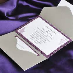 fancy wedding invitations purple and gray pocket wedding invitation cards ewpi027 as low as 1 69