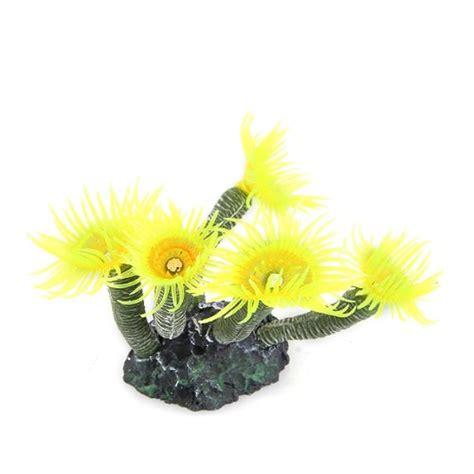 fleur plante arbre artificiel silicone jaune deco pour aquarium poisson wt ebay