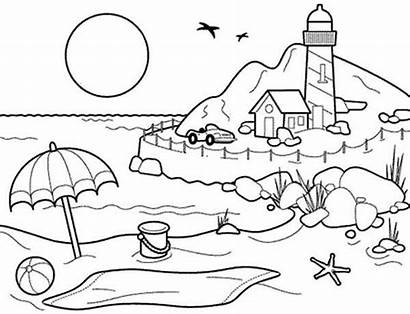 Sunset Coloring Pages Beach Getcolorings Printable Adults