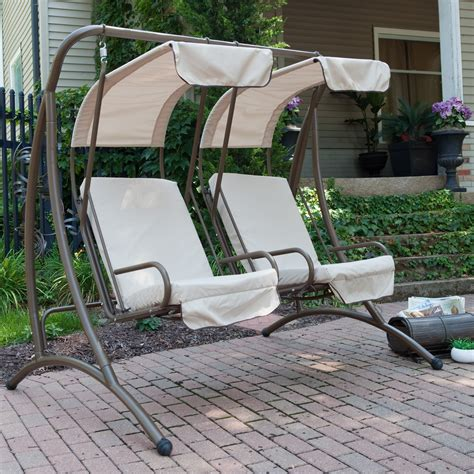 canapé swing coral coast two seat canopy swing chairs at hayneedle