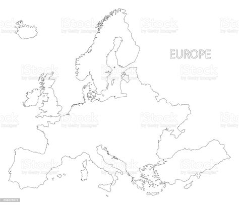 Europe Outline Silhouette Map Illustration In Black And