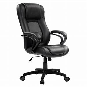 Eurotech, Le521, Pembroke, Black, Leather, High, Back, Swivel, Office, Chair, With, Padded, Arm, Rests