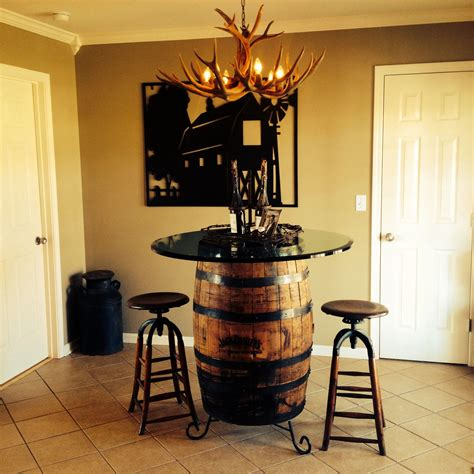 Jack Daniel's Whiskey Barrel As Kitchen Table With Glass