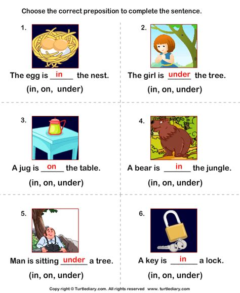 complete the sentences using preposition in on and