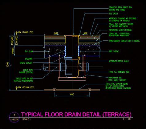 drain floor detail dwg section  autocad designs cad