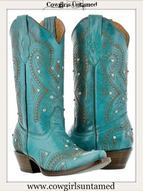 cowgirl style boots turquoise leather  brown