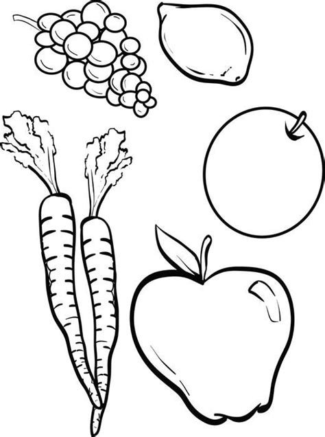 fruits  vegetables coloring page sunday school clip