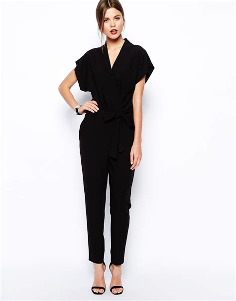 and black jumpsuit asos jumpsuit with tie waist and sleeves in black lyst