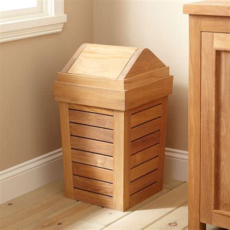 teak waste basket with swing top lid bathroom