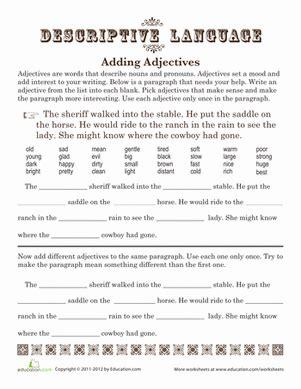 adding adjectives worksheet education