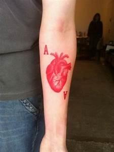 Tattoo Avant Bras : encre rouge coeur et lettres avant bras tatouage tattoo ~ Melissatoandfro.com Idées de Décoration