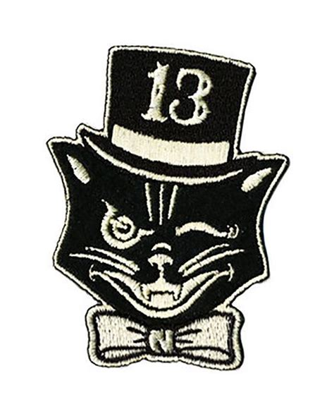 Lucky 13 Patch Badge Black Cat Mr Katz Top Hat Rockabilly