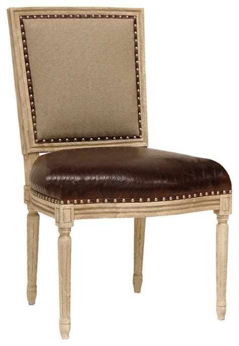 palecek lyon square back side chair linen leather modern