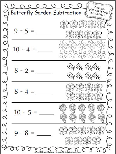 butterfly garden subtraction worksheet madebyteachers