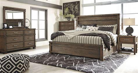 leystone dark brown panels bedroom set    ashley
