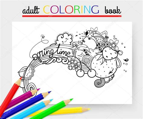 Spring Time Hand Drawn Doodle Vector Illustration With