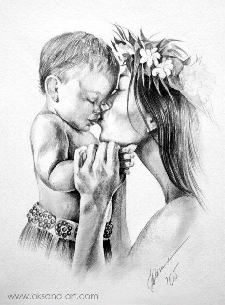 """Mother's Love"" -- Drawing, Portrait, Pencil, Charcoal, Art, Sketch, Love, Face, Baby, Child"
