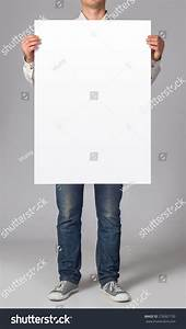Man Holding A Blank Poster Stock Photo 276067130 ...