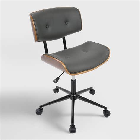 gray faux leather leander swivel office chair world market