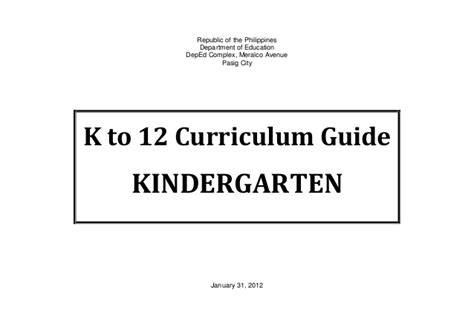 K To 12 Curriculum Guide For Kindergarten