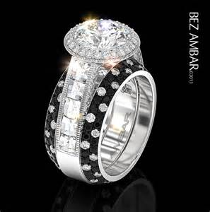 black wedding ring sets cathedral engagement ring setting with ring enhancers