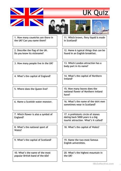 quiz uk trivia worksheet  esl printable worksheets