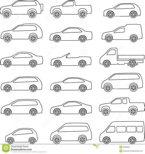 Car Outline Set Stock Vector. Illustration Of Sedane